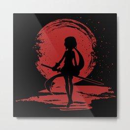 Red Moon Lady Metal Print