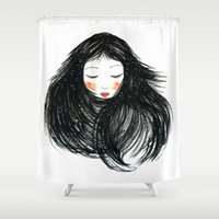hair Shower Curtains featuring Hair by Nieves