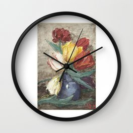 Dutch finest art, Tulips in a vase. Wall Clock