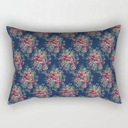 Vintage Roses on Blue Floral Pattern Rectangular Pillow
