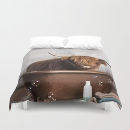 Highland Cow in the Tub Duvet Cover