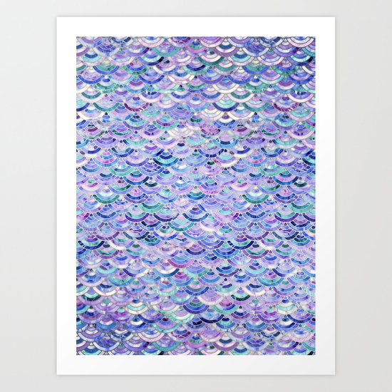 Marble Mosaic in Amethyst and Lapis Lazuli Art Print