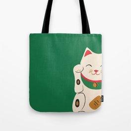 Green Lucky Cat Maneki Neko Tote Bag