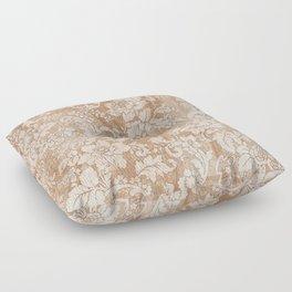 Vintage white brown grunge shabby floral Floor Pillow