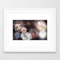 fireworks Framed Art Prints featuring Fireworks by Urlaub Photography