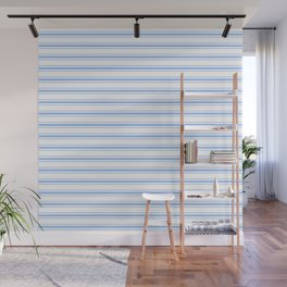 Mattress Ticking Wide Striped Pattern in Pale Blue and White Wall Mural
