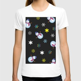Snowflakes & Snowman_E T-shirt