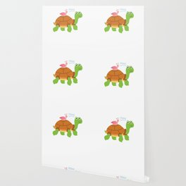 Wheee! Snail Riding on Turtle Adorable Animal Wallpaper