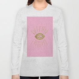Evil Eye Gold on Pink #1 #drawing #decor #art #society6 Long Sleeve T-shirt