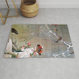 15,000px,600dpi-Ito Jakuchu - Mandarin Ducks in Snow - Digital Remastered Edition Rug