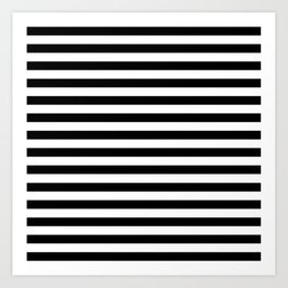 Modern Black White Stripes Monochrome Pattern Art Print