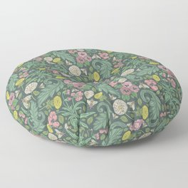 Pink pansy with dandelions and bee on gray background Floor Pillow
