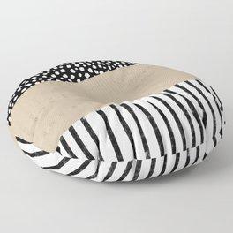 Polka Dots and Stripes Pattern (black/white/tan) Floor Pillow