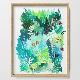 Twice Last Wednesday: Abstract Jungle Botanical Painting Serving Tray