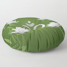 Om Symbol with Lotus flowers on green Floor Pillow