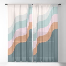 Abstract Diagonal Waves in Teal, Terracotta, and Pink Sheer Curtain