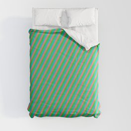 Dark Turquoise, Light Coral, and Lime Green Colored Striped/Lined Pattern Comforters