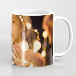 Woman Through String of Lights Coffee Mug