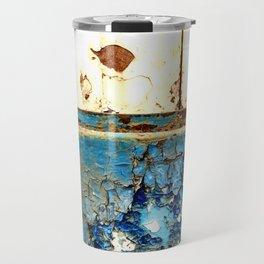 Industrial Rust on Blue Metal Travel Mug