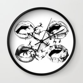 MANEATER - black and white Wall Clock
