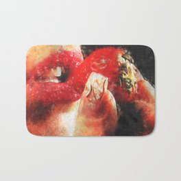 Sexy woman eating a strawberry Bath Mat