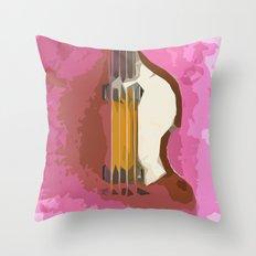 Guitar Bass red back Throw Pillow