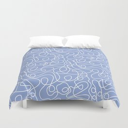 Doodle Line Art | White Lines on Periwinkle Duvet Cover