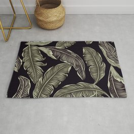 Jungle Leaves Pale Gold and Black Pattern Rug