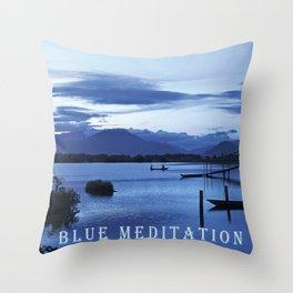 BLUE MEDITATION Throw Pillow