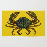 crab Area & Throw Rugs featuring CRAB by Claire Cousins
