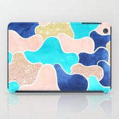 Color block faux gold turquoise pink watercolor iPad Case
