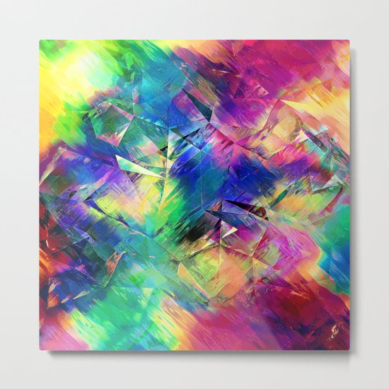 Abstract Colorful Shapes and Textures Metal Print
