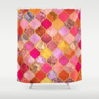 bedding Shower Curtains featuring Hot Pink, Gold, Tangerine & Taupe Decorative Moroccan Tile Pattern by micklyn