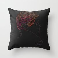 david bowie Throw Pillows featuring Bowie by Bruno Gabrielli