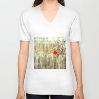 cardinal V-neck T-shirts featuring cardinal by Bonnie Jakobsen-Martin