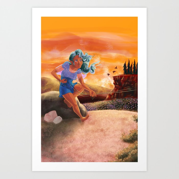 Flying a Kite in the Hills of Mouleau Art Print