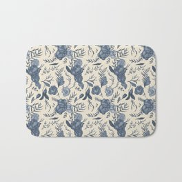 Blue Floral Pattern Bath Mat