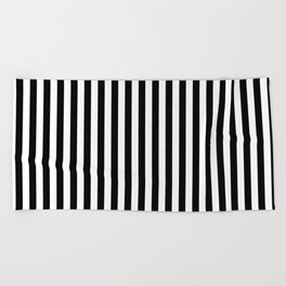 Vertical Stripes (Black/White) Beach Towel
