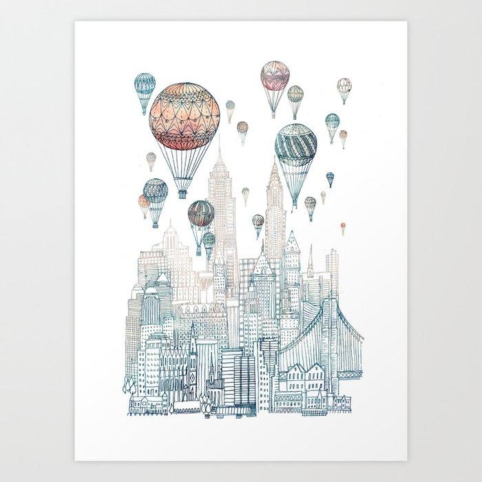 Voyages Over New York ~Refresh Art Print