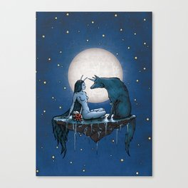 Abigail & The Unicon Wolf Canvas Print