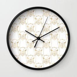 Cute Gold Strokes Llama Animal White Pattern Wall Clock