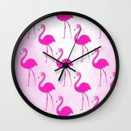 Seamless Flamingo Wall Clock