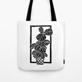 Fiddle Leaf Fig Block Print Tote Bag