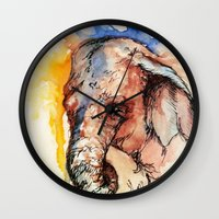 africa Wall Clocks featuring Africa by Abigail Leigh