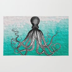 Antique Nautical Steampunk Octopus Vintage Kraken sea monster ombre turquoise blue pastel watercolor Rug