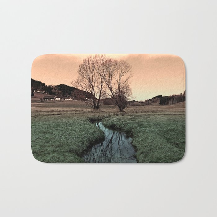 A stream, dry grass, reflections and trees II | waterscape photography Bath Mat