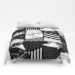 Crazy Patchwork (Abstract, black and white, geometric designs) Comforters