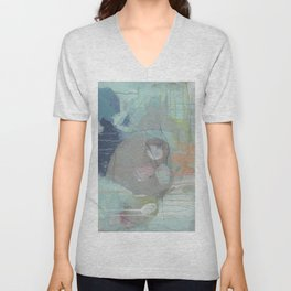 From Memory IV - abstract collage painting blue, gray, pink, orange Unisex V-Neck