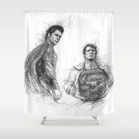 man of steel Shower Curtains featuring Man of Steel v Superman by Aeriz85