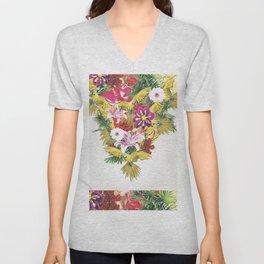 Parrot Floral Unisex V-Neck